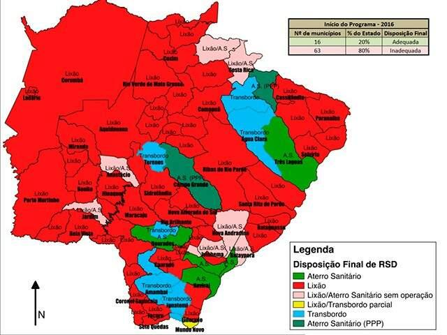 Área em vermelho representa lixões presentes em municípios de MS em 2015. (Gráfico: MPMS)