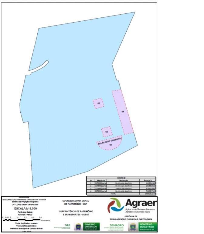 Mapa com Palácio do Governo e outras três áreas com destinação a definir.