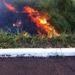 Na beira da rodovia, haviam vários focos de incêndio como esses