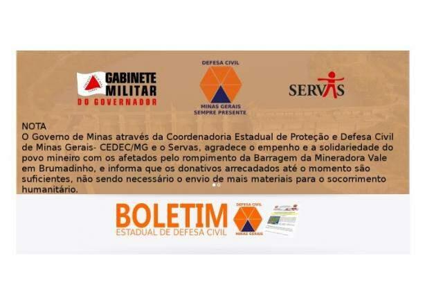 Nota divulgada pelo governo mineiro. (Foto: Divulgação)