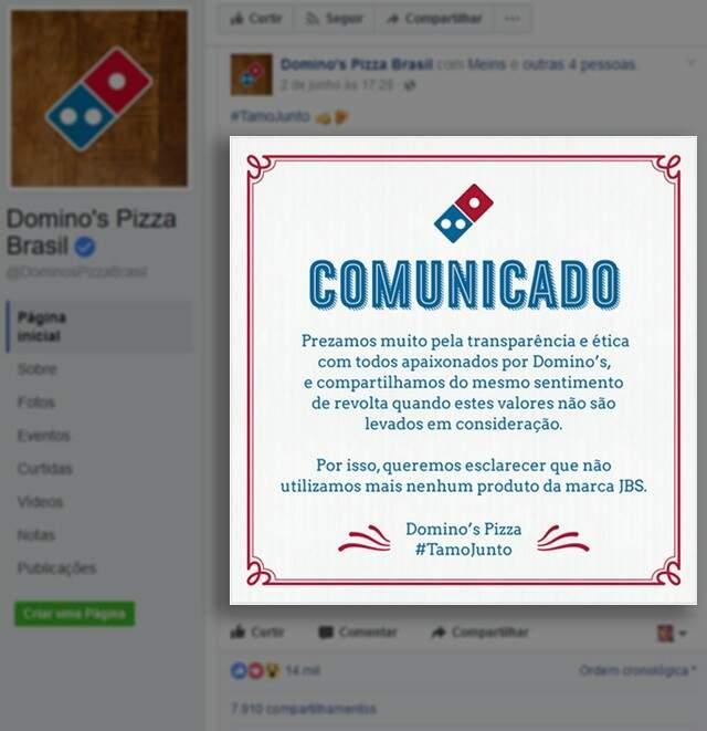 Rede de pizzarias, com loja na Capital, anuncia boicote aos produtos da JBS