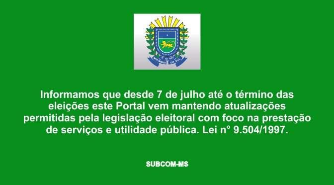 Comunicado no site do governo estadual alerta sobre suspensão do uso de endereços eletrônicos