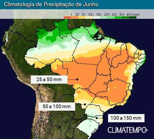 Mapa mostra áreas de instabilidade para as próximas duas semanas. (Foto: Reprodução)