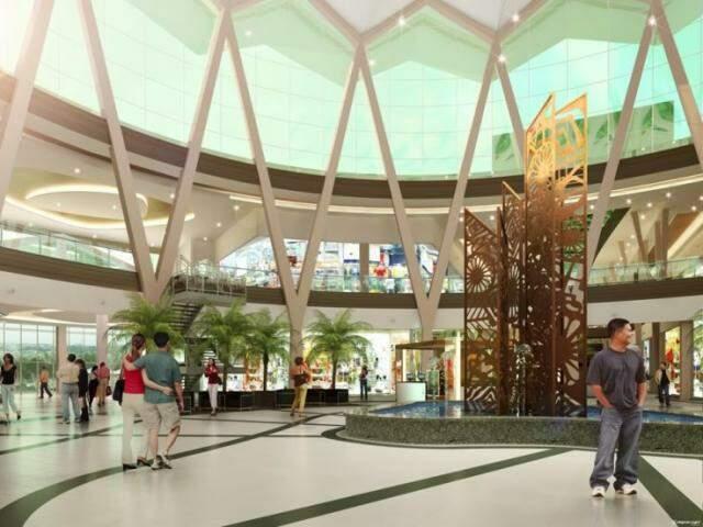 Maquete virtual do interior do shopping.