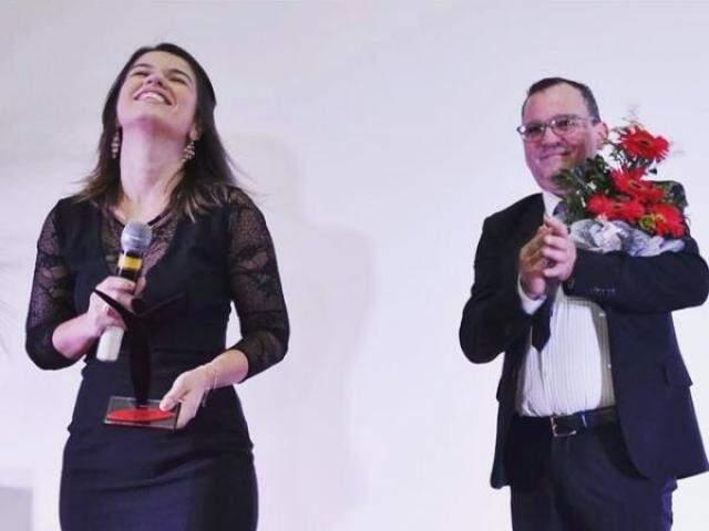 Paula Maciulevícius recebeu prêmio da Rede Apolo. (Foto: Thaiany Silva)