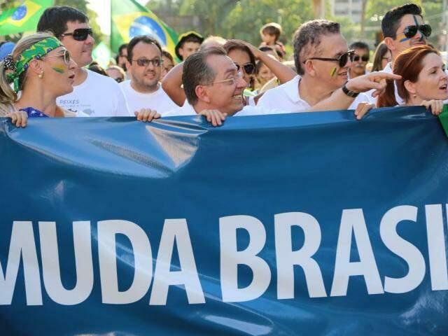 Manifestação no dia 13 de março, em Campo Grande, quando cerca de 100 mil pessoas foram às ruas (Foto: Marcos Ermínio)