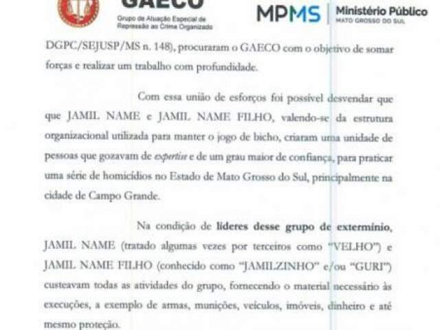 Trecho do pedido de prisão feito pelo Gaeco para suspeitos de integrar organização criminosa. (Foto: Reprodução do processo)