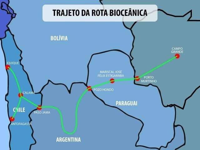 Rota Bioceânica busca ligação entre MS e o Chile, mas precisa de ponte ligando Porto Murtinho ao Paraguai.