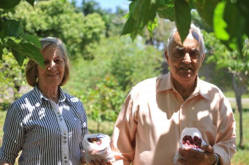 Feliz da vida, casal presenteia quem quiser com acerolas. (Foto: Alcides Neto)