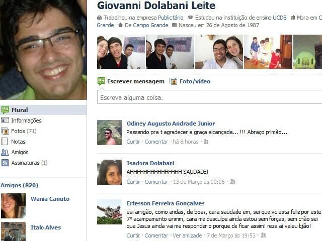 Facebook de Giovanni, com mensagem dos amigos.
