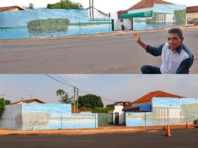 Joel e a oba de arte. (Foto: Marco Miatelo/Diário Digital e Paulo Francis)