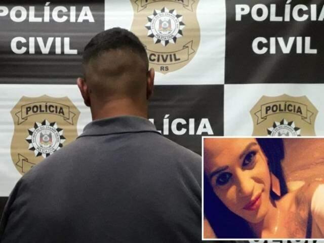 Suspeito preso na delegacia de Santa Maria e foto da vítima ao lado.