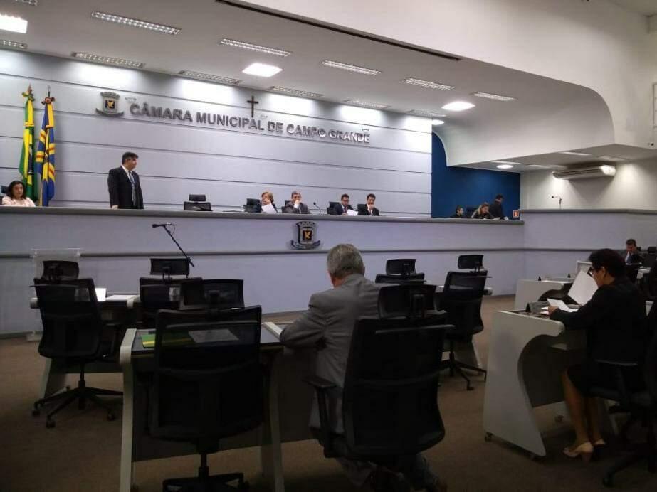 Vereadores de Campo Grande na sessão plenária de hoje. (Foto: Kleber Clajus).