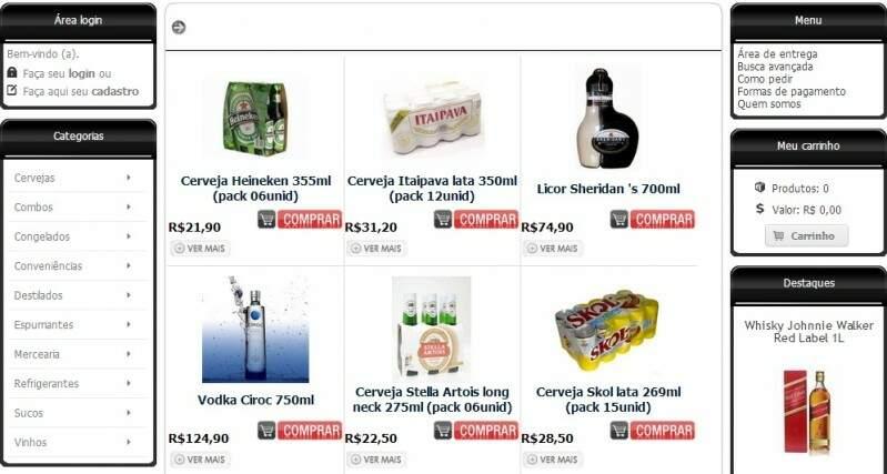 Visualização da página da conveniência Clickbeer Delivery. Facilidades que a internet traz sem precisar sair de casa.