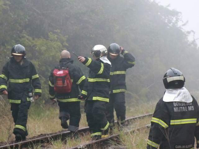 Bombeiros isolaram a área onde avião caiu e controlaram as chamas. (Foto: Henrique Kawaminami)