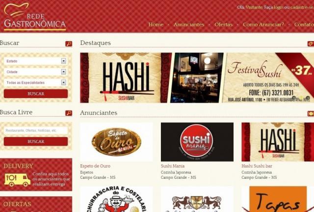Página do site Rede Gastronômica. (Foto: Reprodução/Internet)