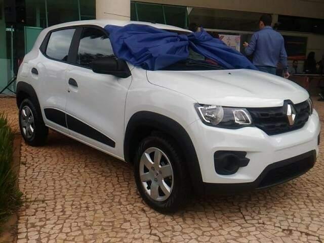 Veículo Renault Kwid que foi sorteado em 2018, na Central do Cidadão. (Foto: Kleber Clajus/Arquivo).