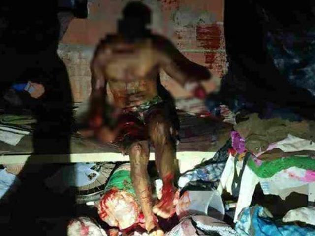 Vítima com as duas mãos decepadas no imóvel. (Foto: Ponta Porã Informa)