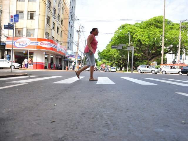 Cruzamento da avenida Afonso Pena com a rua 14 de Julho, local onde Alessandra foi atropelada (Foto: João Garrigó)