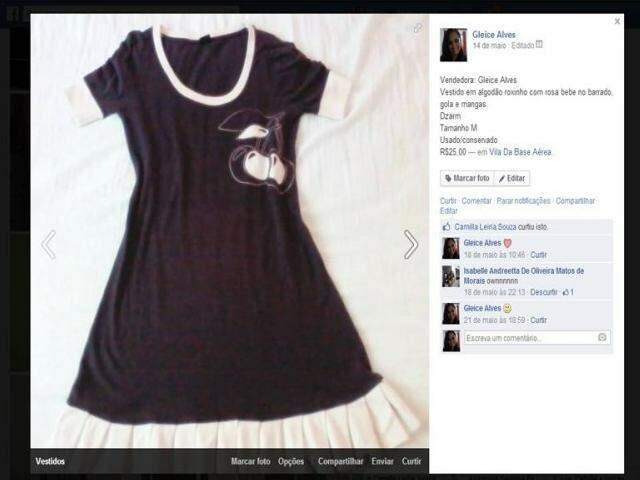Vestido à venda. (Foto: Reprodução/Internet)