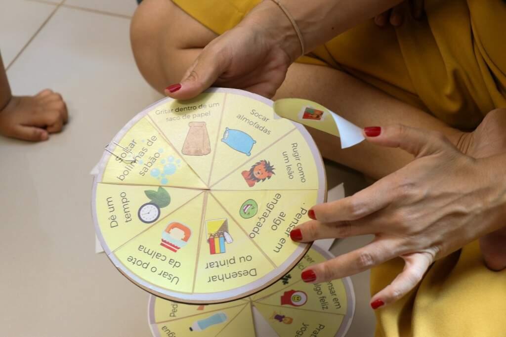 Pais e filhos criaram uma roda lista do que podem fazer quando estiverem nervosos (Foto: Henrique Kawaminami)