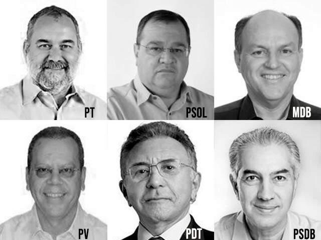 Da esquerda à direita, de cima para baixo: Humberto Amaducci, João Alfredo, Junior Mochi, Marcelo Bluma, Odilon de Oliviera e Reinaldo Azambuja, em fotos oficiais do registro no TSE. (Arte: Ricardo Oliveira).