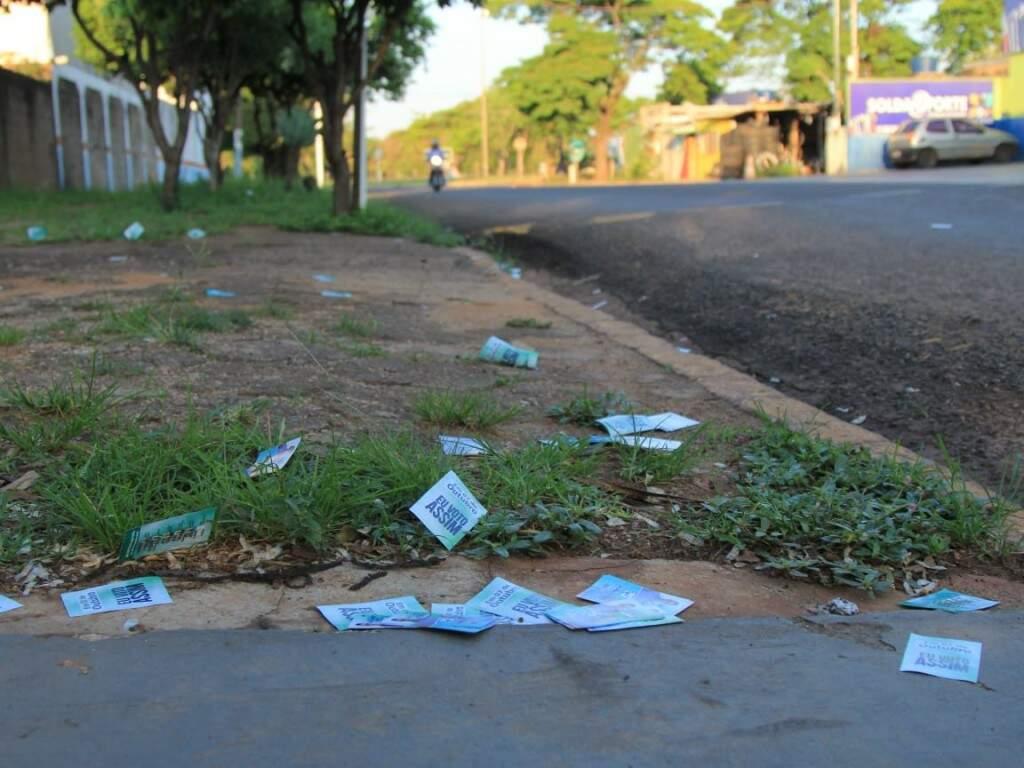 Santinhos em locais de votação (Foto: Marina Pacheco)