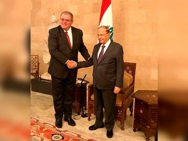 Ministro Carlos Marun ao lado do presidente do Líbano, Michel Naim Aoun (Foto: Divulgação)