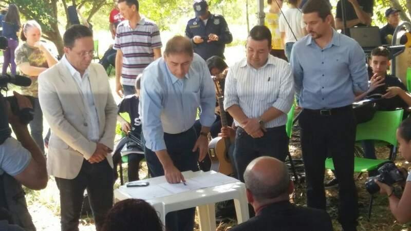 Prefeito de Campo Grande, Alcides Bernal (PP), em evento nesta terça-feira (22). (Foto: Antonio Marques)
