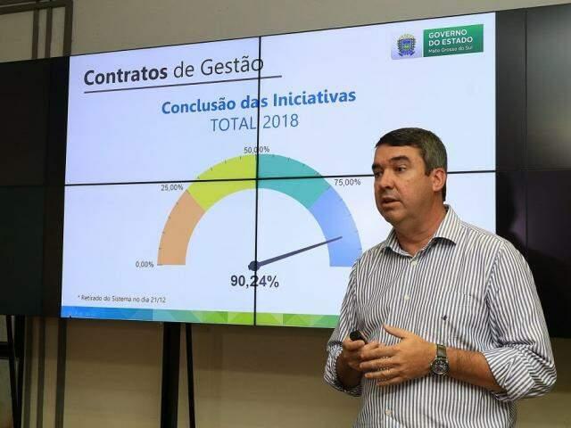 Secretário Eduardo Riedel durante apresentação de balanço (Foto: Edemir Rodrigues/Governo MS)
