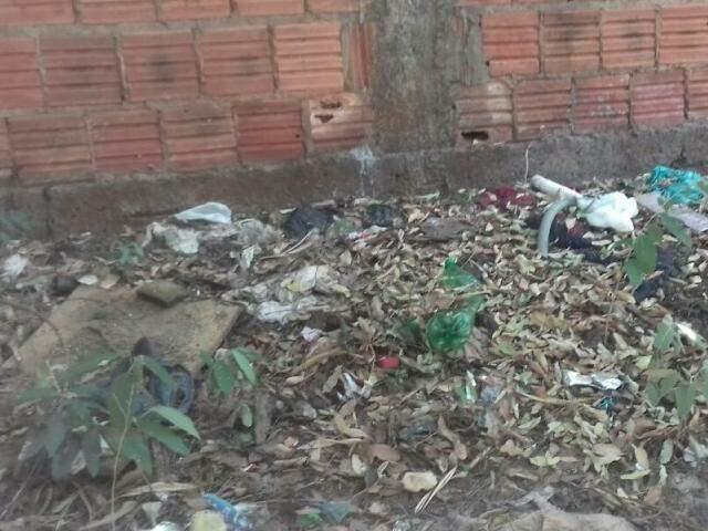 Garrafas, restos de roupas e folhas forram a calçada (Foto: Direto das ruas)