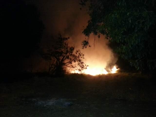 De acordo com internauta, fogo começou no terreno da Base Aérea até se alastrar (Foto: Repórter News)