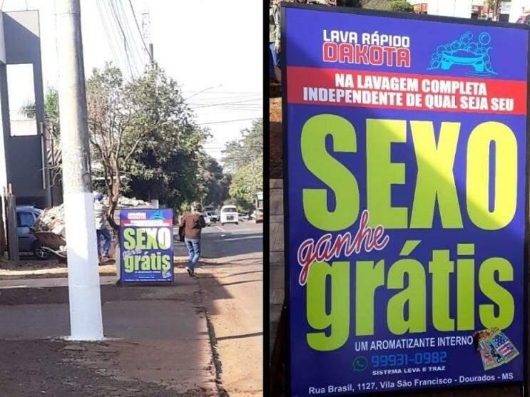 Placa com duplo sentido está na Rua Brasil, em Dourados.