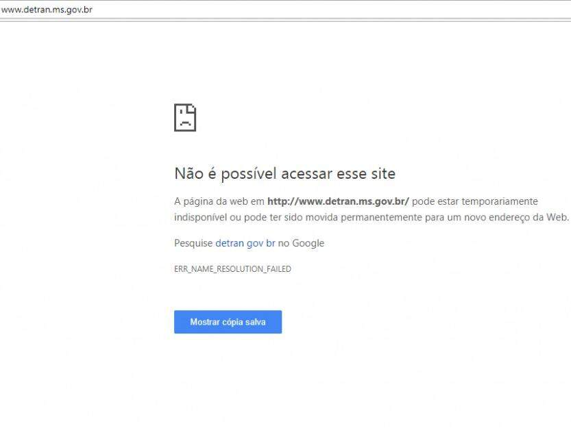 Página que aparece quando tentamos acessar o site do Detran-MS. (Foto: Reprodução/Internet).