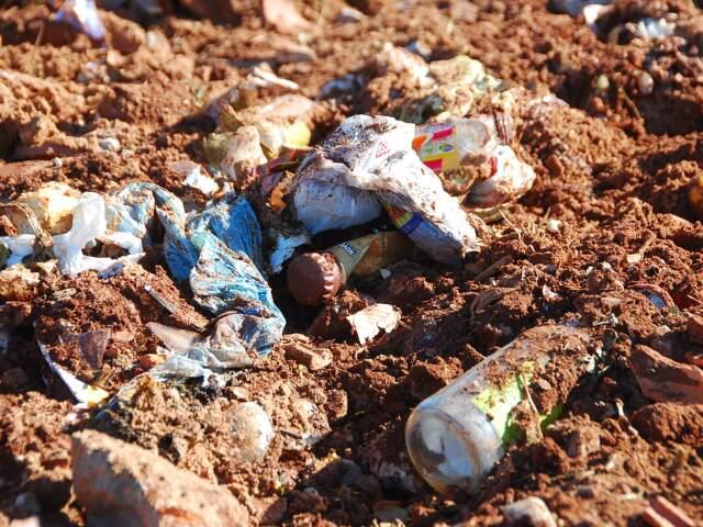 Lixo doméstico também pode ser encontrado no local. (Foto: Rodrigo Pazinato)