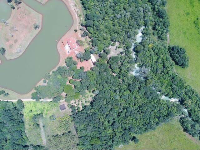 À esquerda, lago com água desviada do rio da Prata, que está no canto direito. (Foto: Ângelo Rabelo).