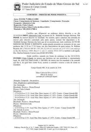 Certidão de emissão de posse dada a Abdallah.