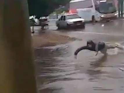 Jovem nada em avenida após chuva de primavera, que este ano deve ser rotina