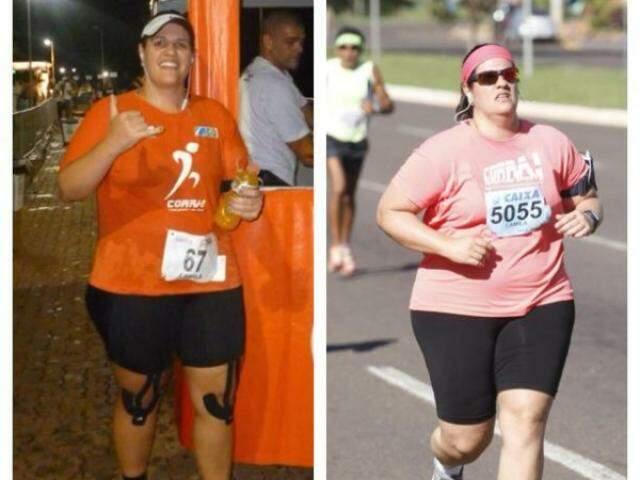 A atleta hoje e há 3 anos, quando começou a correr. (Foto: Corra Assessoria Esportiva)