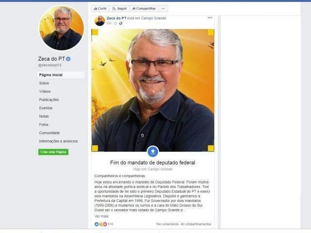 Zeca anunciou em postagem o fim do mandato de deputado federal e fez breve resumo da carreira política. (Imagem: Facebook/Reprodução)