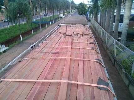 Duas carretas com madeira ilegal são apreendidas e PMA aplica multa de R$ 24 mil