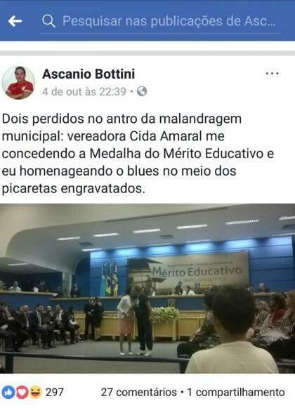 Postagem que gerou polêmica na Câmara Municipal. (Foto: Reprodução Facebook).