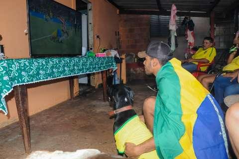 """Conheça Tekila, a cadelinha que """"torce"""" pelo Brasil de verde e amarelo"""
