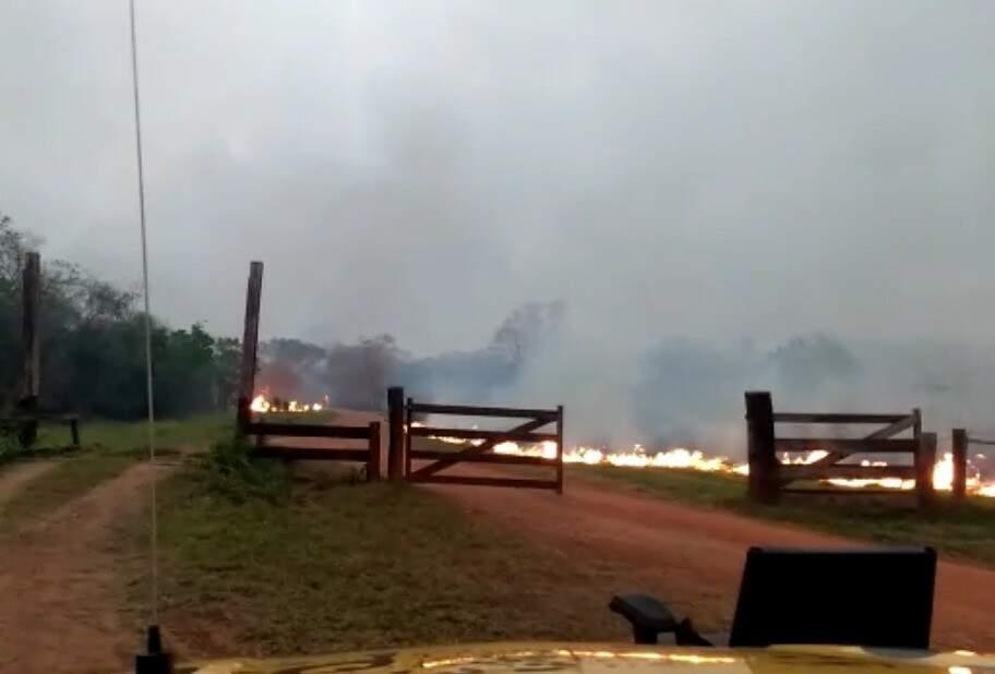 Registro do incêndio ontem, às margens da estrada de acesso ao ponto turístico (Foto: Direto das Ruas)