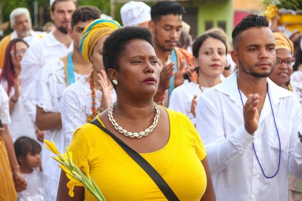 Romilda, integrante do Movimento Negro em MS. acompanhou o evento. (Foto: Marcos Ermínio)