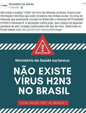 Nas redes sociais, ministério alerta sobre notícias falsas. (Foto: Reprodução)
