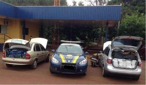 PRF acha dois carros furtados com 700 kg de maconha