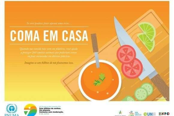 Campanha do Programa das Nações Unidas para o Meio Ambiente (Pnuma) convida a repensar os hábitos e estilo de vida do cidadão e alerta para o consumo consciente (Imagem Pnuma/divulgação)
