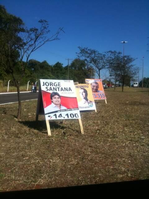 Placas de candidatos foram colocadas no canteiro central da avenida Euller de Azevedo (Foto: Repórter News)