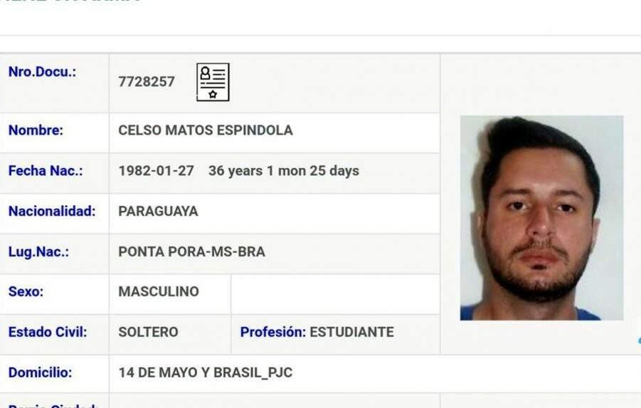 Suposta identidade falsa utilizada por Minotauro no Paraguai (Reprodução/ABC Color)